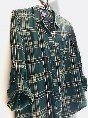 6d522a61dee4f9 Laura Scott Womens Size Medium Bottle Gree Plaid Button Down Shirt 3 4  Sleeve