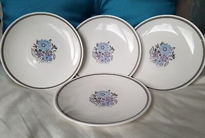 Vintage Susie Cooper Bone China Blue Violet Flower pattern Side / Tea Plates x 4