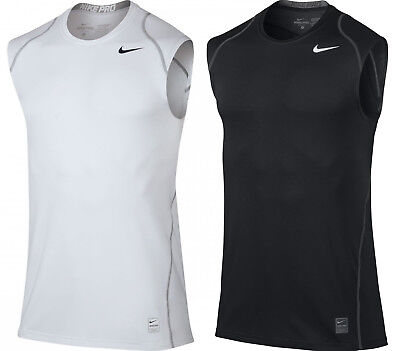 4d9a27409 Nike Mens Pro Cool Dri-Fit Fitted Sleeveless Training Shirt Black/White New
