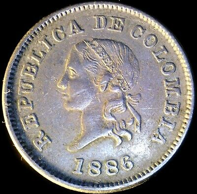 Colombia 1886, 5 Centavos KM# 183.1