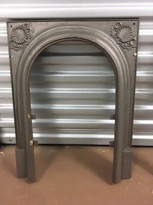 Antique Cast Iron Fireplace Surround Arched With Shell Motif ***sale***