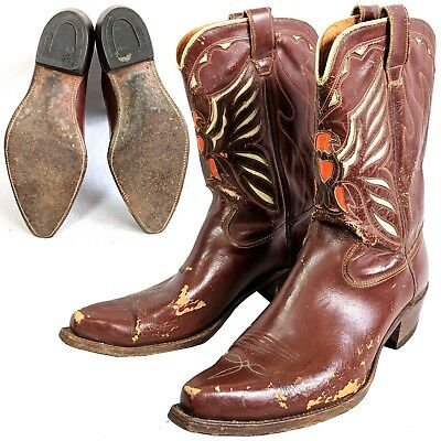 Vintage mens 1950s firebird inlay cutout cowboy boots 10-1/2 D 10.5