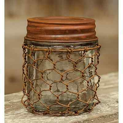 Cute Country Rustic Small 3.75 x 3.0 inch Rusty Chicken Wire Jar w/Lid
