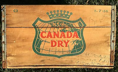 1956 Authentic Vintage CANADA DRY Ginger Ale Soda Wooden Crate Metal Trim C3 T7