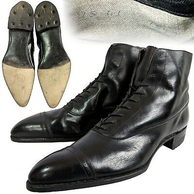 Vintage 1910s pointy toe captoe oxford black leather mens dress boots