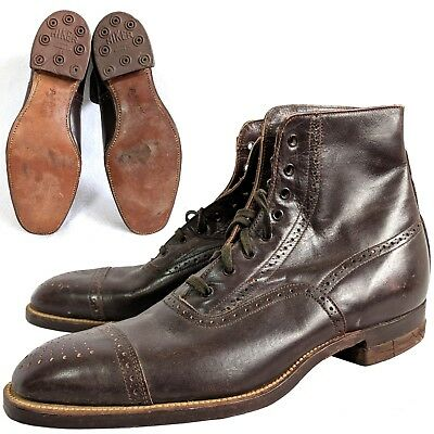 Vintage 1920s Poll Parrot captoe oxford boys mens brown dress boots 5 NOS