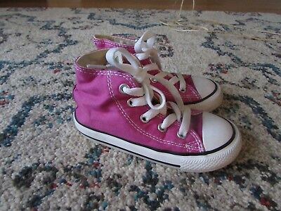 51c18a49ee6ad1 Converse All Star Chuck Taylor Toddler Girl High Top Shoes Pink Sneakers Size  8