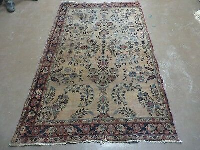 4' X 6' Antique 1920 Hand Made Persian Sarouk Wool Rug Carpet Faded Distressed