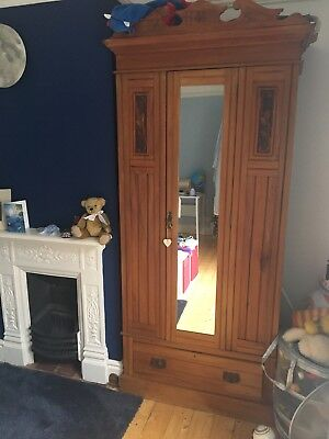 Victorian Pine Wardrobe with mirror, drawer and Brass Fittings