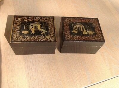 2 Rare Antique Georgian Period Chinese Lacquer Gaming Counter Boxes C1800
