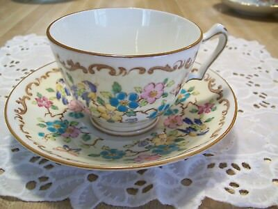 Crown Staffordshire Bird Butterfly Animal Floral Teacup Saucer Vintage England