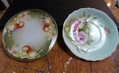 Sevres Bavatia & Lefton China Porcelain Saucer & Side Plates