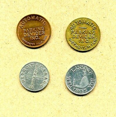 Lot 4 Vintage Parking Tokens Detroit Lansing Farmington Hills Michigan & Tunnel