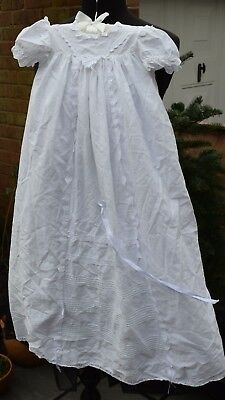 Vintage Christening Dress White Cotton Long Length Ribbon Bows LaceTrim Preloved