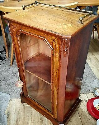 Antique walnut glazed Music/Display Cabinet carved and marquetry, brass rails