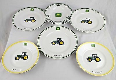 John Deere Dinner Plate Bowl Lot of 11 Green Yellow Tractor Collect Gibson China & JOHN DEERE Dinner Plate Amber Fields By Gibson 10 inch Lot of 4 ...