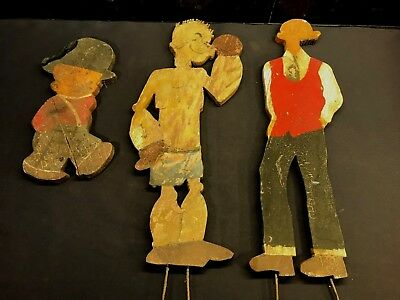 3 Antique Wood Cut Out Folk Art Popeye Cartoon Characters Display