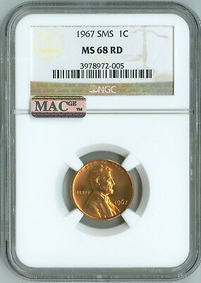 1967 SMS CENT NGC MS68 RD MAC PQ, PENNY 1c, 2ND TOP REGISTRY, CHERRY RED LUSTER!