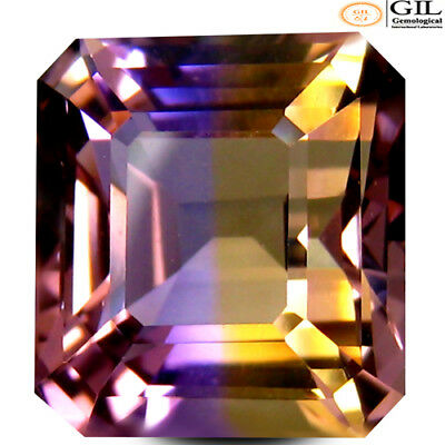 7.58 ct GIL Certified  Octagon Cut (12 x 11 mm) Purple and Yellow Ametrine Stone