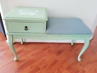 vintage telephone table - refurbished to suit a cottage theme. Pastel green