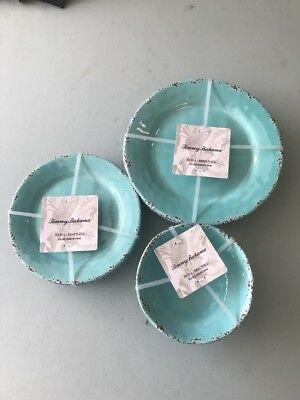 NEW! 27 PC TOMMY BAHAMA Rustic Crackle MELAMINE PLATES BOWLS MORE