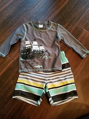 Boys 2 piece swim set,  shorts and rash guard,  pirate ship,  3T, Carter's