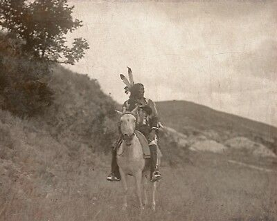 "1907- Native American Indian, Sioux, Horse, Antique, Western, 20""x16"" Photo"