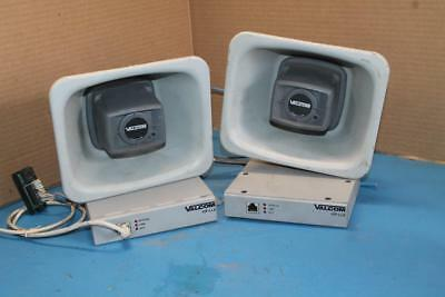 Lot Of 2 Valcom V-1080 One Way Paging Horns W/ Ip Paging Horn Links Ports Vip130