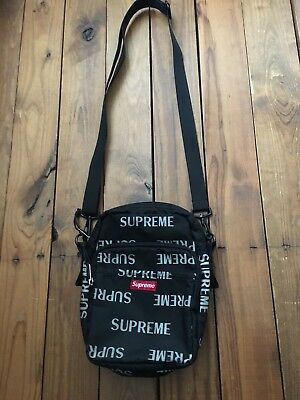 Supreme Fw16 3m Reflective Repeat Shoulder Bag Black Box Logo