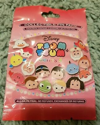 Disney Parks Tsum Tsum Series 4 Mystery 5-Pin Pack Pin Trading Genie, Flounder +