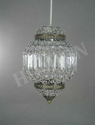 Moroccan Style Clear Ceiling Light Shade Pendant Chandelier Antique Brass Frame
