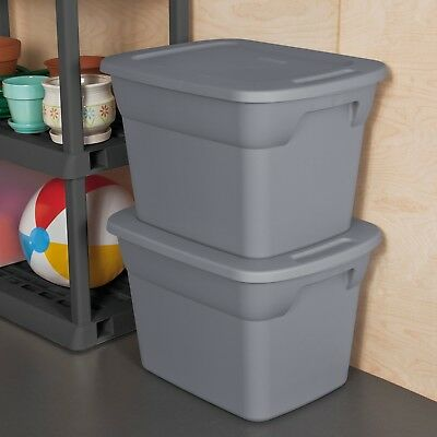 8 Plastic Tote Box 18 Gallon Gray Stackable Storage Bin Container with Lid Set