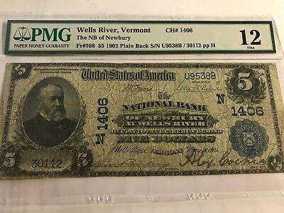 1902 $5 National Bank of Newbury Wells River, Vermont, Charter #1406 PMG 12 RARE