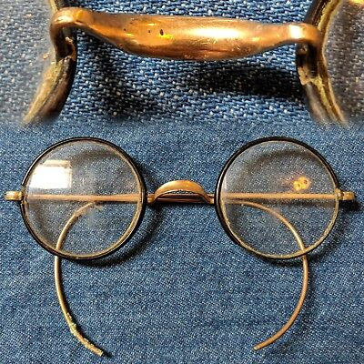 Vintage 1920s round gold covered frame windsor bridge eyeglasses glasses