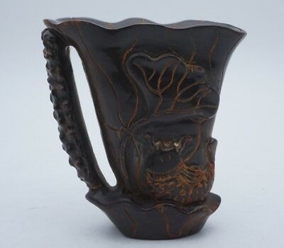 Chinese Exquisite Hand carved Lotus carp carving ox Horn cup