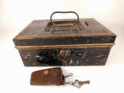 Antique Metal STRONG BOX Black Gold with key Vintage Old Storage Lock Box Case