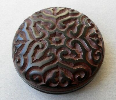 Antique Chinese DEEP Carved Red & Black GURI Patterned TIXI Cinnabar Paste Box