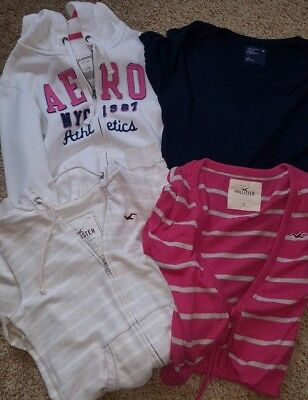 Women's Lot of 4 Hollister AE & Aeropostale Hoodie Shirts Size Large