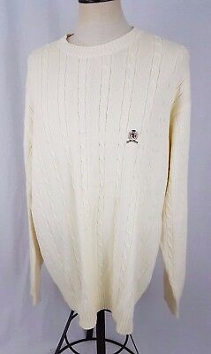 VTG Men's TOMMY HILFIGER IVORY LION CREST Cable Knit Crewneck Sweater ~ XL ~NEW!