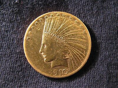 1910-S $10.00 Indian Head Gold Coin ** Free Shipping!!