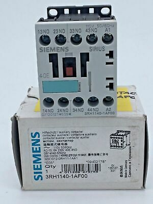 Siemens 3RH1140-1AF00 Auxiliary Contactor Relay 6A 110V ac Coil 4 Pole 4NO