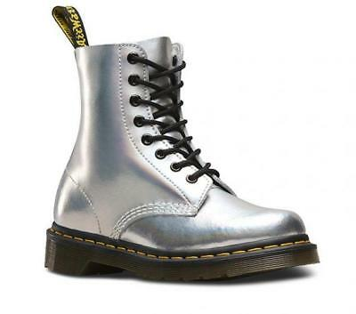 Dr. Martens Unisex 1460 8Eye Bo Lace Up Genuine Leather Boots Shoes Silver Laser