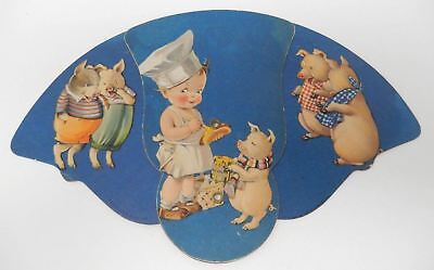 Vintage U.O. Colson Advertising Trifold Fan Childrens Pigs Cook Hot Dogs