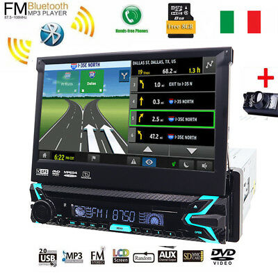 "Single 1Din Car Stereo 7"" In-dash Video DVD Player GPS Navi AutoRadio USB+Camera"