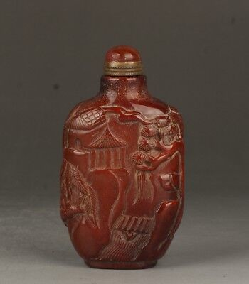 Chinese Exquisite Hand carved pine Old man carving antlers snuff bottle
