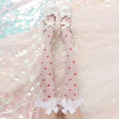 Dot Thin Stockings Bowknot Over Knee Long Socks Printing Lolita Cosplay For Girl
