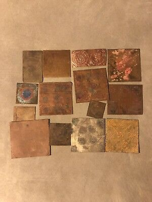 14 Old Antique Vintage Indian Copper Plates Religous Printing? Mixed Lot Bulk & 2 ANTIQUE Vintage PRINTING PLATES Sheet Music **HEAR MY SERENADE ...