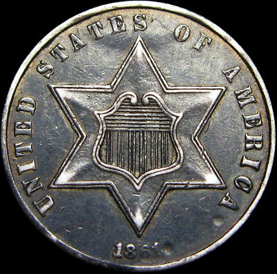 1861 Silver Three Cent Piece 3cp --- TYPE COIN --- #U980
