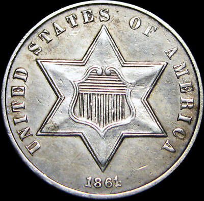 1861 Silver Three Cent Piece 3cp --- 180 Degree Rotated Reverse --- #U981