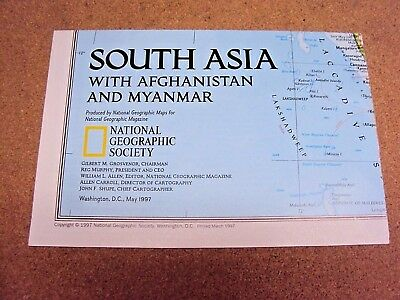 National Geographic May 1997 Map South Asia with Afghanistan And Myanmar